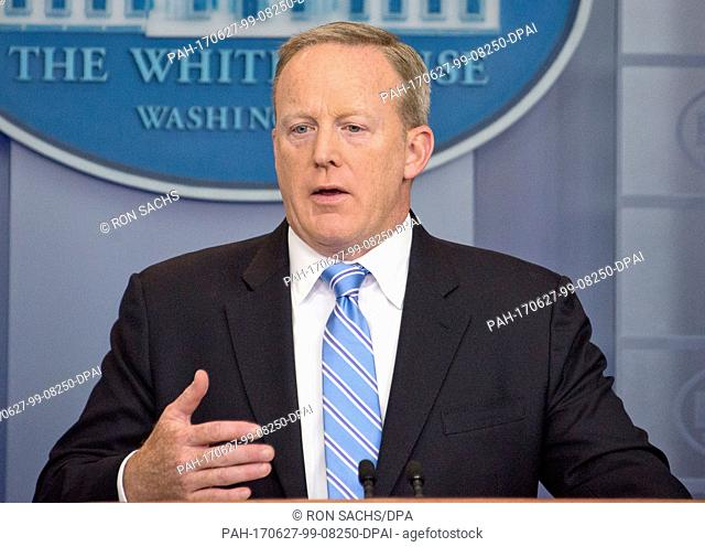 White House Press Secretary Sean Spicer conducts his daily press briefing in the Brady Press room of the White House in Washington, DC on Monday, June 26, 2017