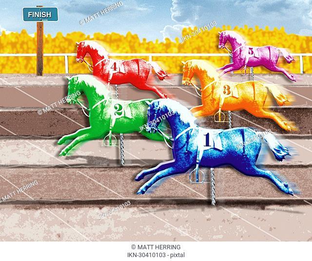 Multicolored horses crossing finish line