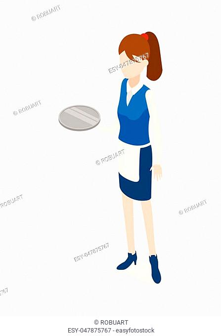 Waiter isolated. Woman in waiter uniform holding round metal grey tray. Full length portrait of standing waitress. Girl wearing blue skirt