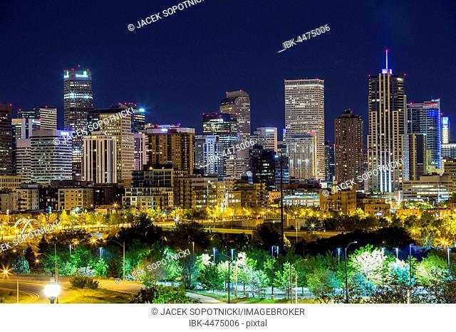 Downtown at night, Denver, Colorado, USA