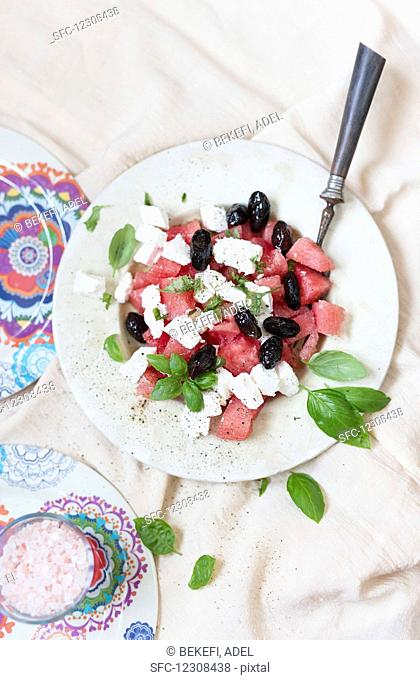 Watermelon salad with feta and olives