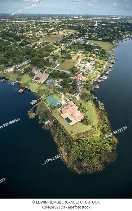 Aerial of large estate on peninsula in Southeastern USA