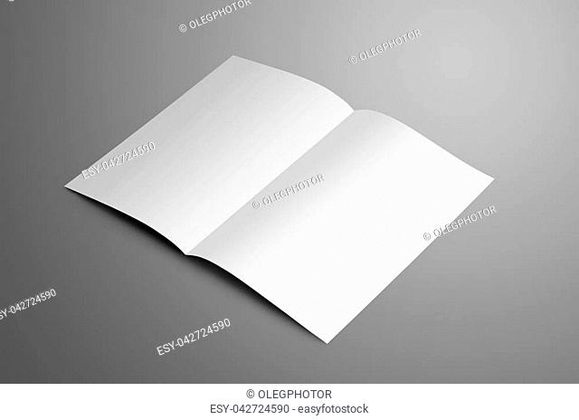 Universal white one A4, (A5) bi-fold brochure with soft shadows isolated on gray background. The booklet is opened and shows the turn