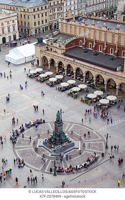 Main Market Square Rynek Glowny, from St Mary's Basilica, Kraków, Poland