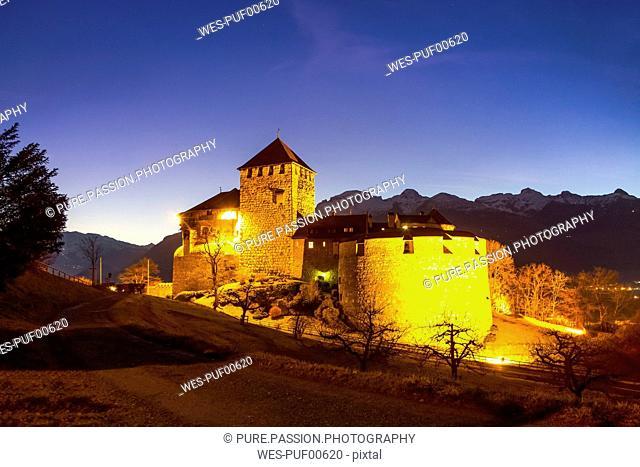 Liechtenstein, Vaduz, Vaduz Castle at blue hour