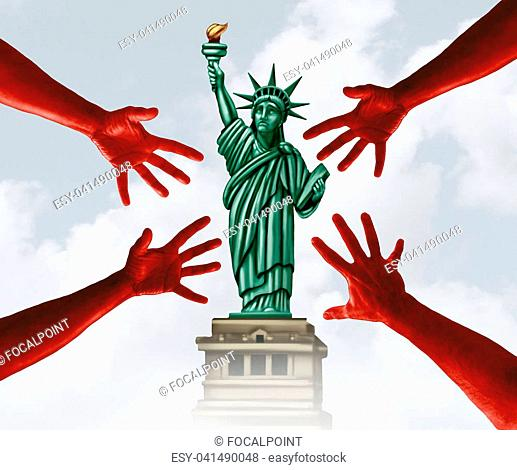 Sexual harassment in America and assault on women in the United States scandal as a symbol of criminal hands threatening the statue of liberty in a 3D...