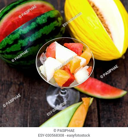 topview of an fruit salad with various melon slices, and a canary and watermelon