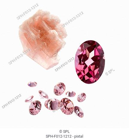 Tourmaline gemstones and crystal
