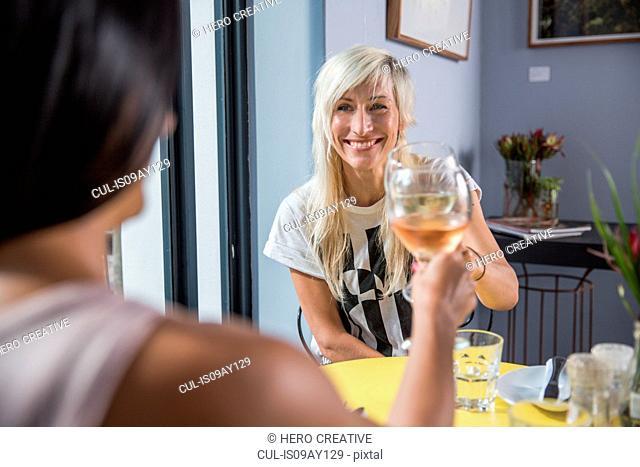 Friends enjoying wine during lunch in restaurant