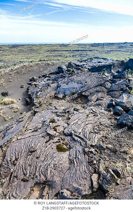 Solidified lave flow on the coastal plain of southern Iceland
