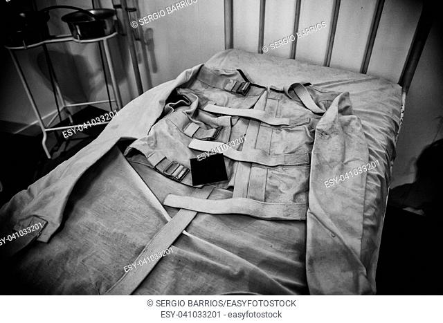 Old psychiatric straitjacket, mental hospital detail, psychosis