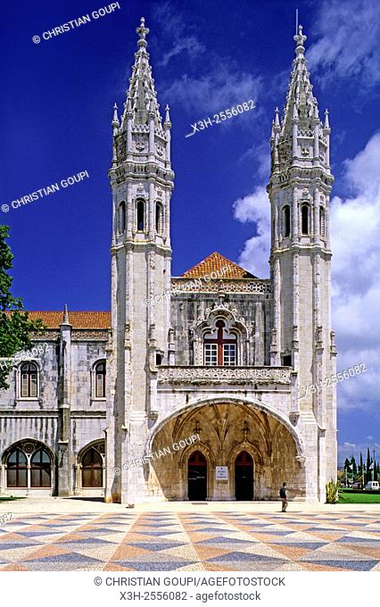 entrance of the Navy Museum in the western wing of the Hieronymites Monastery Jeronimos, portuguese, Lisbon, Portugal, Southern Europe