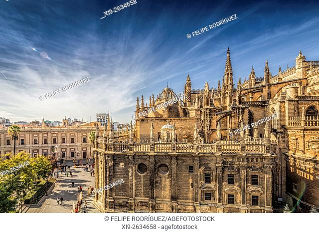Seville Cathedral and Triunfo square, Seville, Spain