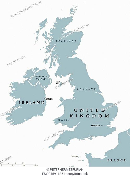 Ireland and United Kingdom political map with capitals Dublin and London and with national borders. Gray illustration of British Isles with English labeling and...