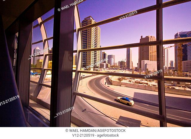 A view of new buildings area from Metro Station, Dubai, United Arab Emirates, Middle East