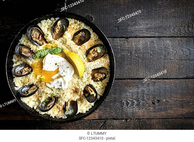 Risotto with cooked mussels and a poached egg (seen from above)