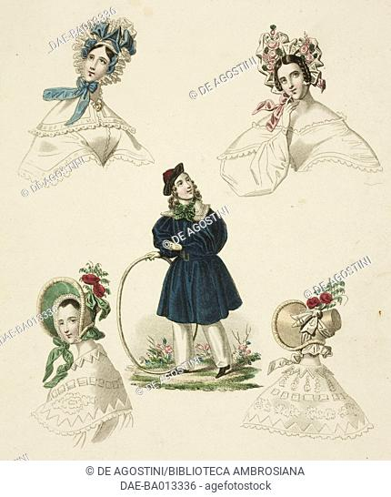 Models of hats decorates with flowers for lady and young boy sketch with overcoat, plate 38 taken from Parisian Fashion, Il Corriere delle Dame (Ladies'...