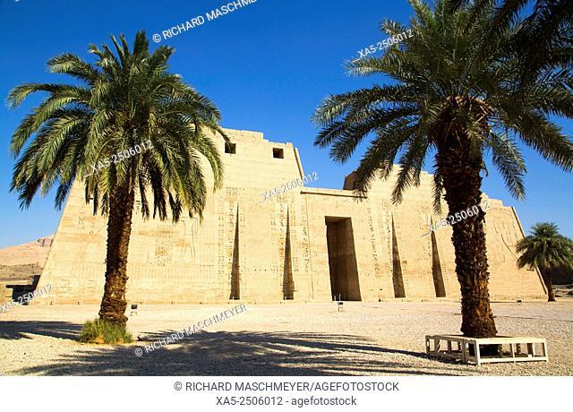 First Pylon, Medinet Habu (Mortuary Temple of Ramses III), West Bank, Luxor, Egypt