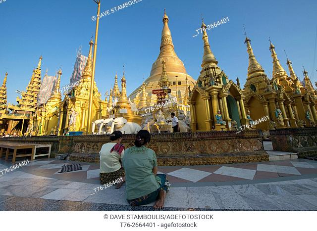Golden Shwedagon Paya, the holiest pilgrimage site in Yangon, Myanmar
