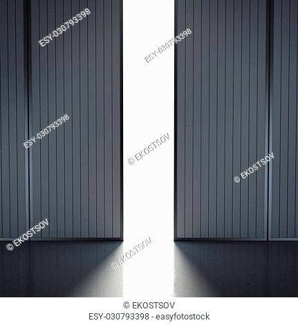 light in open hangar doors . 3d render