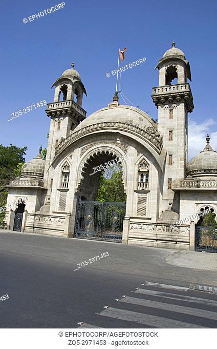 Royal entrance gate of The Lakshmi Vilas Palace, was built by Maharaja Sayajirao Gaekwad 3rd in 1890, Vadodara (Baroda), Gujarat, India