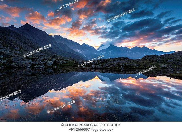 Genova valley, Adamello Brenta natural park, Trentino Alto Adige, Italy. Sunrise from one of the many lakes near the Mandrone refuge