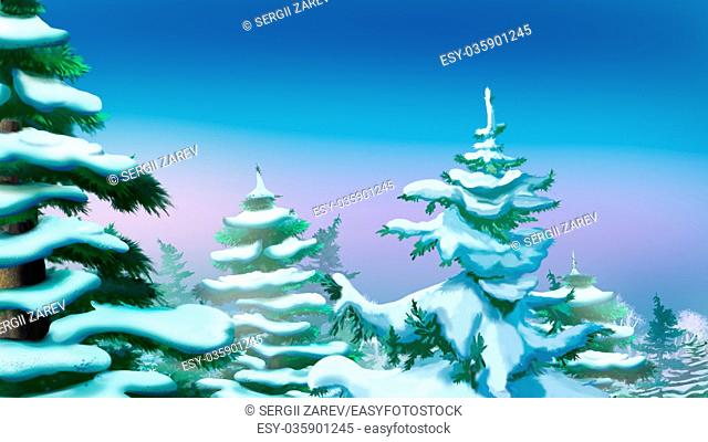 Crown Tree Covered Snow. Handmade illustration in a classic cartoon style