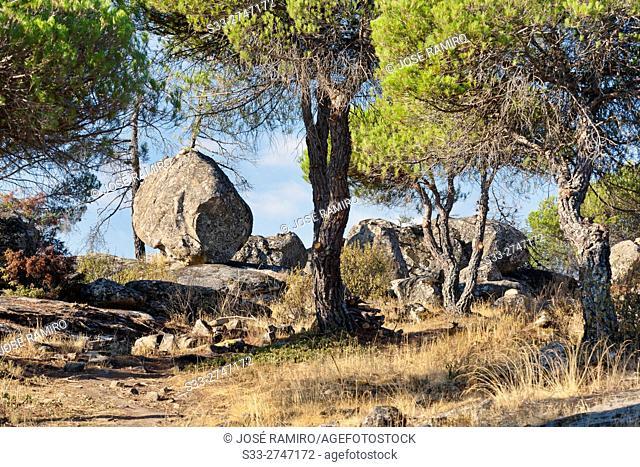 Granite in Muñana cliff. Cadalso de los Vidrios. Madrid. Spain. Europe