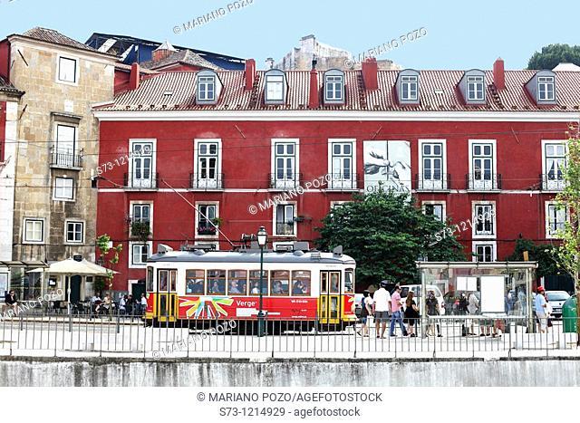 Train in Alfama. Lisbon. Portugal