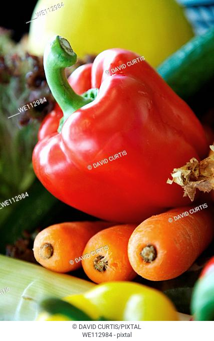 Close up of peppers and other vegetables
