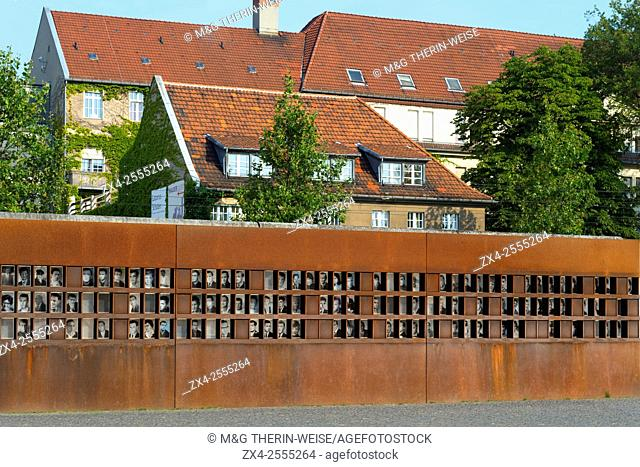 Wall Memorial, Window of Remembrance, Pictures of the victims of the Wall, Bernauer Strasse, Berlin, Brandenburg, Germany