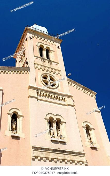 Pink church of Port Vendres in France