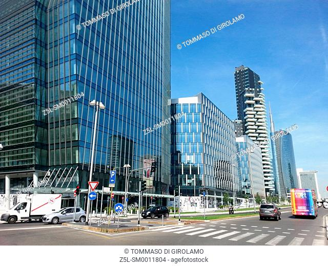 Italy, Lombardy, Milan, New buildings in the avenue of liberation