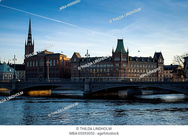 View on Riddarholmen with Riddarhuset, Riddarholmskyrkan and Norstedtshuset, Stockholm