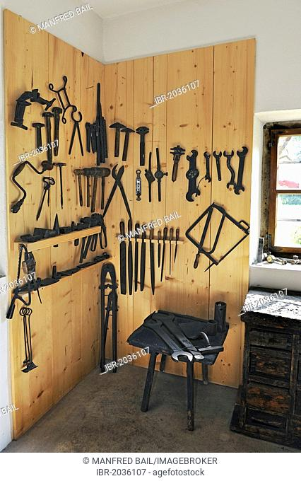 Old tools in the blacksmith's workshop, Bauernhausmuseum Amerang farmhouse museum, Amerang, Bavaria, Germany, Europe