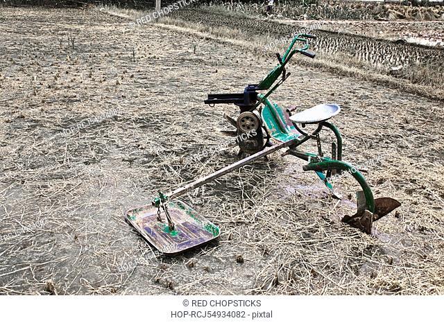 Agricultural equipment in a rice field, Li River, XingPing, Yangshuo, Guangxi Province, China