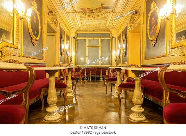 Interior of Florian, the oldest Italian cafe; Venice, Veneto, Italy