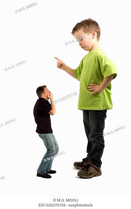 Caricature of a large son pointing his finger at the extra small dad. Not always do the parents tell what must be done!