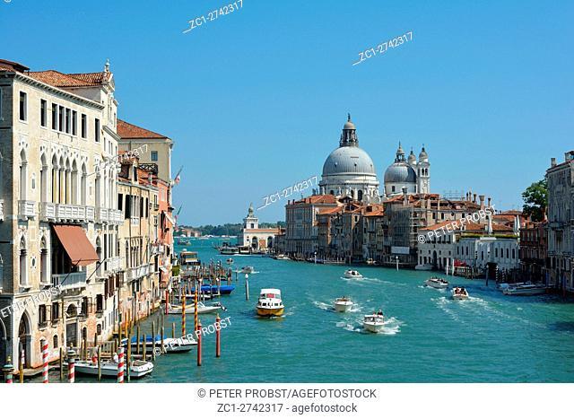 Venice, Veneto, Italy - September 8, 2016: Grand Canal view from Accademia Bridge to Basilica Santa Maria della Salute in Venice - Italy
