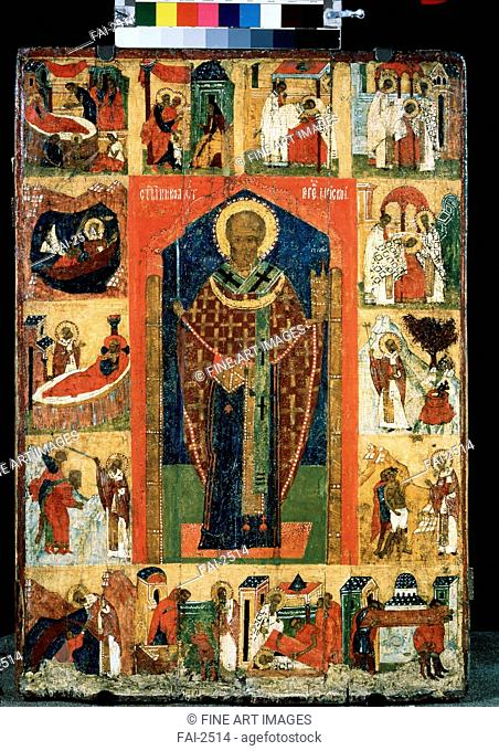 Saint Nicholas with Scenes from His Life. Russian icon . Tempera on panel. Russian icon painting. Late 15th cen. . State Tretyakov Gallery, Moscow