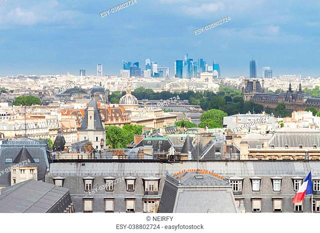 skyline of Paris city at summer day, France