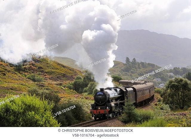 The Jacobite Steam Train, better known now as the Harry Potter Train, on the way to Mallaig. Scotland. Great Britain