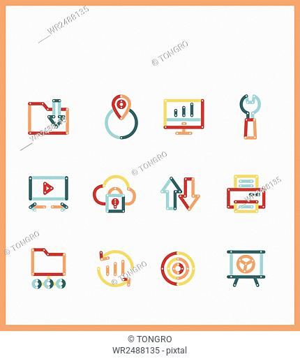 Various line icons related to business presentation