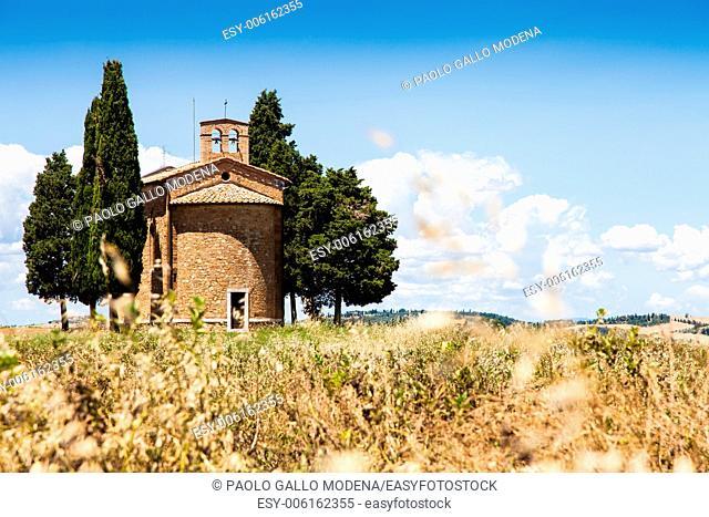 Cappella di Vitaleta (Vitaleta Church), Val d'Orcia, Italy. The most classical image of Tuscan country
