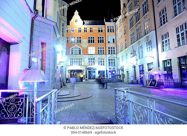 Small square at night in Wroclaw or Breslau, Poland