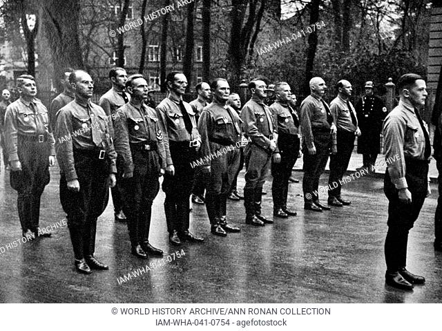 Adolf Hitler 1889-1945. German politician and the leader of the Nazi Party, with Brown Shirts in Munich