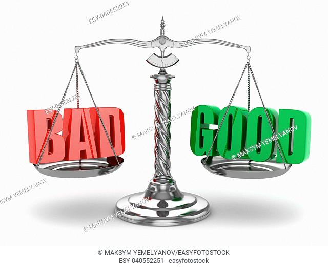 Balance bad or good. Scales on white isolated background. 3d