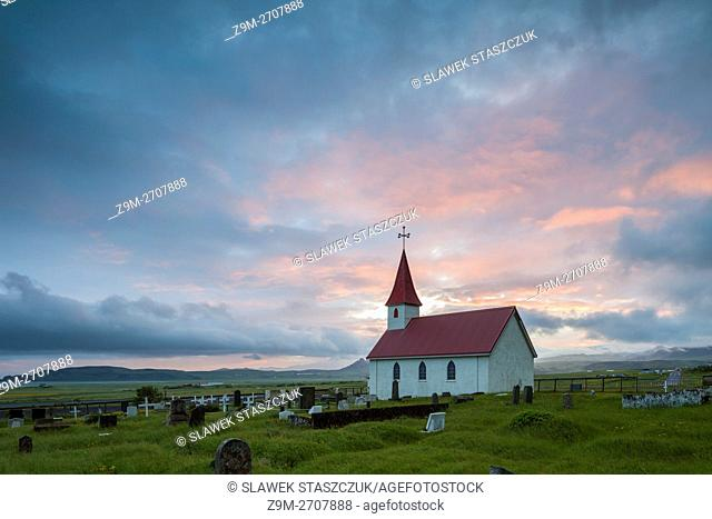 Sunset at Reyniskirkja church near Vik, Iceland