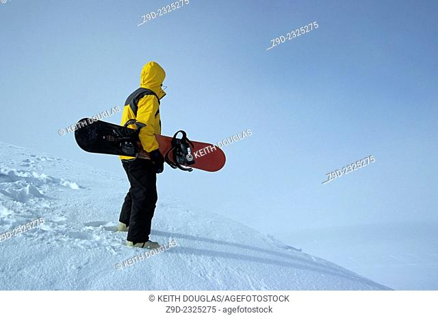 Snowboarder on ridge, Hudson Bay Mountain, Smithers, BC