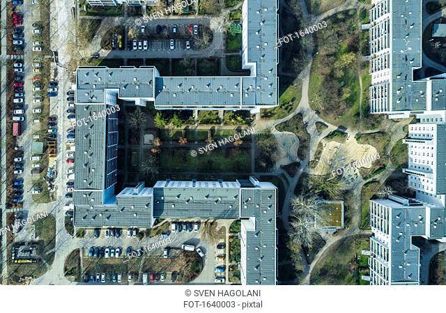 Aerial view of apartment buildings in city, Berlin, Brandenburg, Germany
